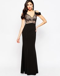 Forever Unique Casie Fishtail Maxi Dress With Lace Overlay Black