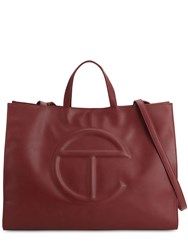 Telfar Large Embossed Logo Shopper Tote Bag Oxblood