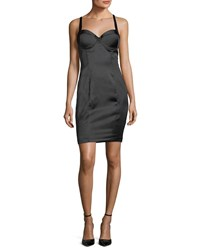 Kendall Kylie Short Satin Bustier Dress Black
