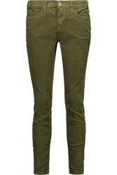 Current Elliott The Stiletto Cotton Blend Corduroy Skinny Pants Army Green