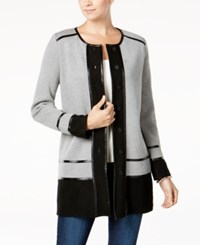Charter Club Faux Leather Trim Cardigan Created For Macy's Smokey Heather Combo