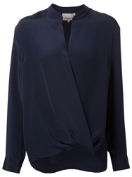 3.1 Phillip Lim Draped Wrap Blouse Blue