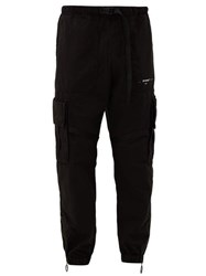 Off White Logo Print Cotton Twill Cargo Trousers Black