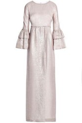 Merchant Archive Ruffled Printed Satin Crepe Gown Silver
