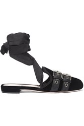 Miu Miu Lace Up Grosgrain Trimmed Velvet Ballet Slippers Black