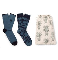 Desmond And Dempsey Two Pack Stretch Cotton Blend Socks Blue