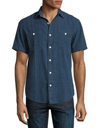 Faherty Seasons Check Print Short Sleeve Shirt Indigo