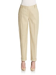 Lafayette 148 New York Perry Stretch Linen And Cotton Cuffed Ankle Pants Ecru