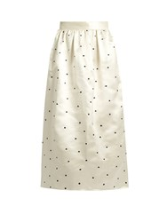 Jupe By Jackie Open P Gala Polka Dot Embroidered Satin Skirt Black