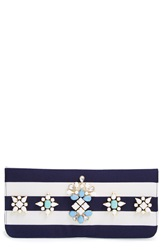 Shiraleah 'Berenice' Embellished Stripe Clutch Navy