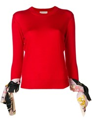 Emilio Pucci Silk Trimmed Tie Cuff Knit Top Red