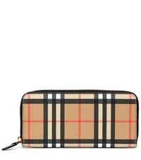 Burberry Vintage Check Leather Wallet Beige