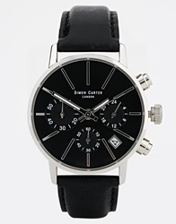 Simon Carter Chronograph Black Leather Strap Watch Brown