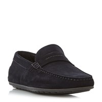 Hugo Boss Dandy Moccasin Perforated Saddle Loafers Navy