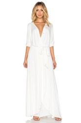 David Lerner X Chiqui Delgado Belted Wrap Maxi Dress White
