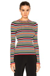 Rosetta Getty Ribbed Long Sleeve Crewneck In Red Blue Green Stripes Red Blue Green Stripes