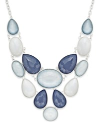 Styleandco. Style And Co. Silver Tone Ice Blue Stone Teardrop Bib Necklace