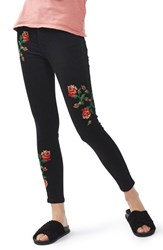 Topshop Women's Jamie Embroidered Skinny Jeans Black