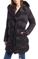 Kendall Kylie Asymmetrical Zip Puffer Coat Black