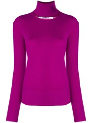 Chalayan Split Neck Sweater Pink And Purple