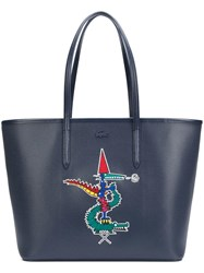 Lacoste Large Alligator Motif Tote Blue