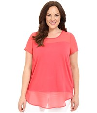 Vince Camuto Plus Size Short Sleeve Mix Media Top With Chiffon Yoke And Hem Guava Fruit Women's Blouse Pink