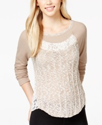 Almost Famous Juniors' Long Sleeve Contrast Top Taupe