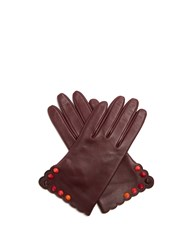 Fendi Studded Leather Gloves Burgundy