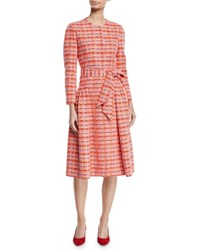 Delpozo Long Sleeve Self Belt Gathered Tweed Coat Pink
