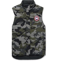 Canada Goose Garson Slim Fit Camouflage Print Quilted Arctic Tech Down Gilet Green