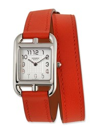 Herm S Cape Cod Pm Watch With Orange Leather Strap