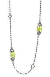 Lagos Women's 'Caviar Color' Long Semiprecious Stone Station Necklace Green Quartz
