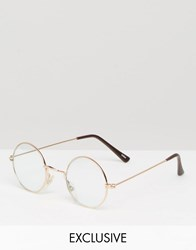 Reclaimed Vintage Glasses With Clear Lens Gold