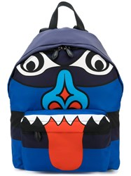 Givenchy Totem Print Backpack Polyester Leather Blue