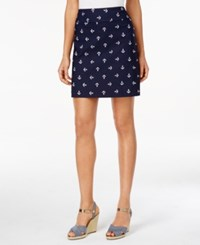 Charter Club Petite Anchor Print Skort Only At Macy's Deepest Navy Combo