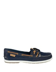 Sperry Coil Ivy Leather Perforated Boat Shoes Navy Blue