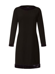 Hotsquash Swing Dress With Velvet In Clever Fabric Black