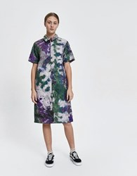 Stussy Curtis Tie Dye Quilted Dress Olive