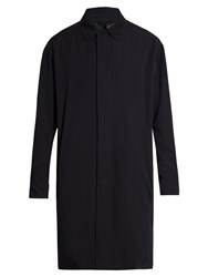Lanvin Point Collar Wool Overcoat Navy