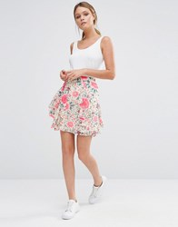 Oasis Printed Frill Mini Skirt Multi