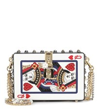 Dolce And Gabbana Box Embellished Leather Clutch Multicoloured