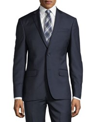 Dkny Solid Twill Two Piece Wool Suit Navy