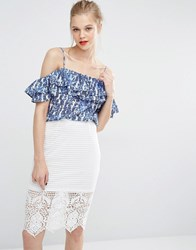 Supertrash Off Shoulder Top With Frill Bright Blue