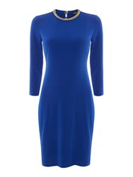 Episode Bodycon Dress With Embellished Neckline Blue