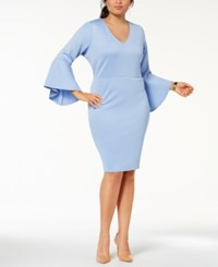 Love Squared Trendy Plus Size Bell Sleeve Sheath Dress Pastel Blue