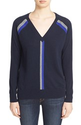 Autumn Cashmere Women's Stripe V Neck Sweater Navy Cement Pennant