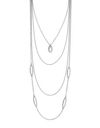 Louise Et Cie Pave Multi Layer Link Necklace Silver
