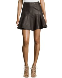 Halston Flared Leather Skirt Earth