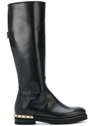 Baldinini Mid Calf Length Boots Calf Leather Leather Suede Rubber Black