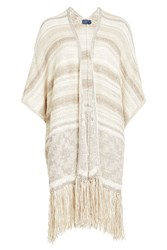 Polo Ralph Lauren Fringed Cardigan With Cotton Silk And Linen